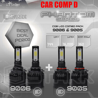 9006 9005 4PCS LED Total 144W 16000LM Combo Headlight High 6000K White Kit (B)