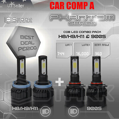 H11 9005 4PCS LED Total 144W 16000LM Combo Headlight High 6000K White Kit (A)