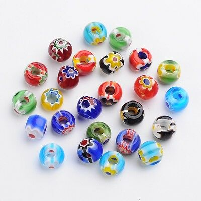 100pcs Rondelle Handmade Millefiori Glass Beads Mixed Color Hole 5~6mm Crafting