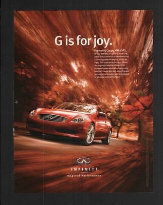 2008 Magazine Poster Print Ad~10x13~Infiniti~G Coupe with VVEL~Red Car~W100