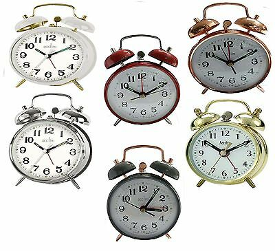 Acctim Selworth Clock Keywound Wind Up Double Bell Alarm Clock Bedside- 6 Colour