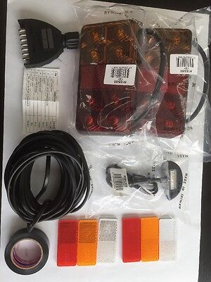 DIY Trailer Wiring LED 2xTail Lights 1xNo Plate Light, 1xPlug, 8mtr Cable 5Core
