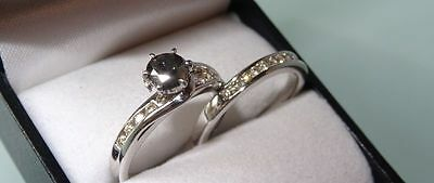 0.5 Natural Black Diamond/0.34 White Diamonds White Gold Engagement/Wedding Set
