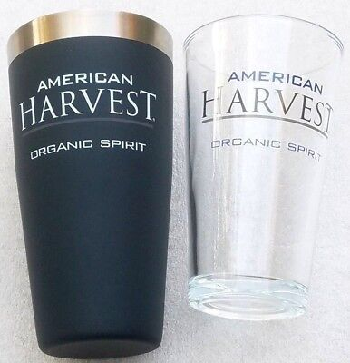 Stainless Cocktail Shaker w/ Mixing Cup, 16 oz Glass American Harvest Organic