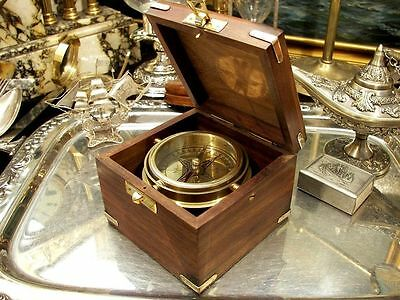 Vintage Solid Brass Compass Nautical  Marine Sail Boat Gift Free Engraving !