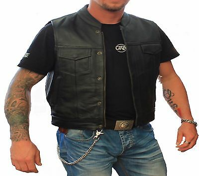Motorcycle Motorbike Cut Off Vest Chrome Leather Bikers Sons of Anarchy Style...