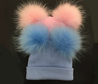 Beautiful Baby Real Fur Double Pom Hat/White/Blue/Pink/Fit for 1-3 Years