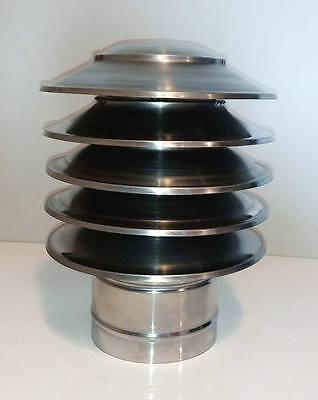 CHIMNEY COWL Stainless Steel Rain Cap Anti Down Draught INOX to fit 4'' / 100mm