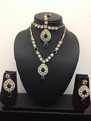 New Bollywood Indian Costume Jewellery Set Gold Blue Red Green Purple Party Wear