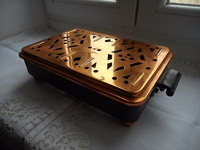 stunning vintage French metal and copper table food warmer