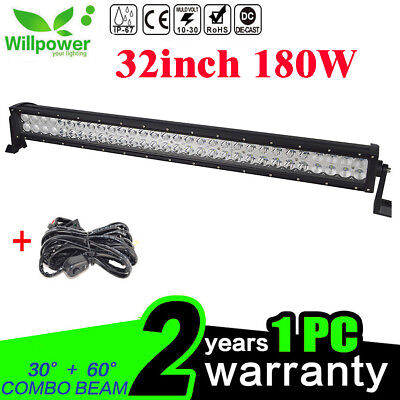 "32"" 180W LED Light Bar Work Driving Lamp Off road 4WD Truck UTE With Wiring Kit"