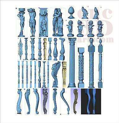 More than 60+ 3d STL Models - Balusters Collection for CNC relief artcam aspire