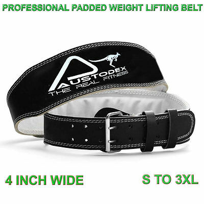"""Austodex back support Weight lifting bodybuilding weightlifting Leather Belt 4"""""""