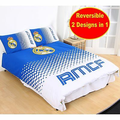 New Real Madrid 'fade' Double Duvet Quilt Cover Set Boys Kids Football Bedroom