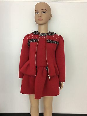 Mayoral Girls Outfit, Dress & Jacket Size Age 4, 104 Cm, Red, Scuba, Immaculate