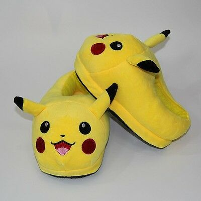 Pikachu Cute Kids Plush Home Anime Pokemon Winter Slippers Indoor Shoes 23cm/9""