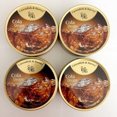 4 x 200g TINS OF CAVENDISH & HARVEY COLA DROPS - MADE IN GERMANY