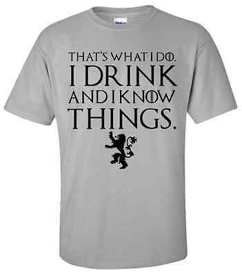 GAME OF THRONES TYRION I DRINK AND I KNOW THINGS TEE SHIRT Sizes S,M,L,XL