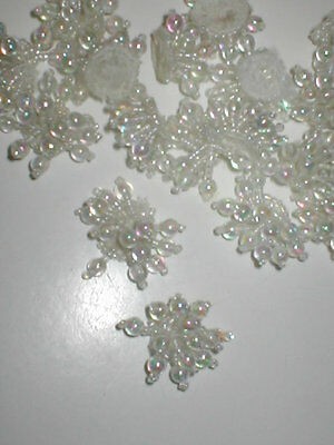 White color Beaded Appliques lot of 20..