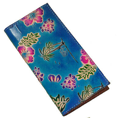 Genuine Leather Check Book Cover,Hawaii Scenery Pattern Embossed on Both Side,