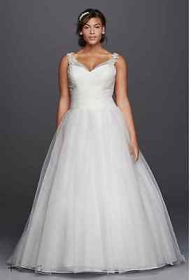Tulle Plus Size Wedding Dress with Illusion Straps Size 22W