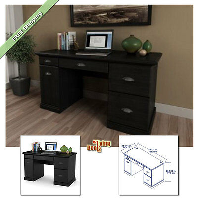 Computer Desks for Home Office with Storage Table Wood Furniture Desk, Black