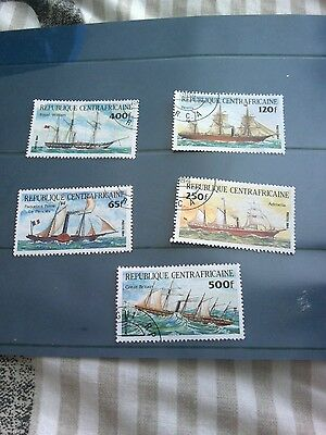 Central african republic 1984 transport set of 5 stamps