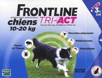 Frontline Tri-Act Spot-On Pour Chiens 10-20 Kg 3 Pipettes