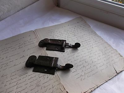 French 19th century antique door latch locks spring movement set of 2