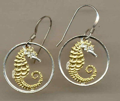 Cut Out Coin Earrings Singapore 10 cent Sea Horse Ear Rings Jewelry C-138ERSS