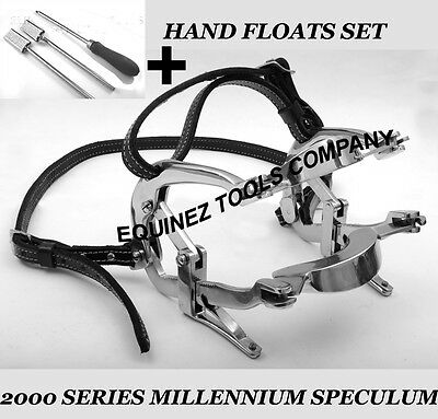 Equine Dental  Millenium Speculum With Hand Floats Set Stainless Steel Leather