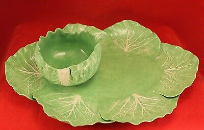 Rare DODIE THAYER Lettuce Ware Cabbage Leaf 2 Piece Chip and Dip Set