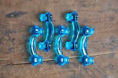 Vintage Clear Blue Glass Bridge Drawer Pulls (Set of 5) E2159
