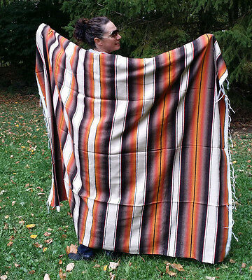 """Mexican Serape Sarape Fringed Blanket Bedspread 84"""" x 60"""" Fall Colors Brown Gold"""