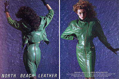 1986 North Beach Leather Marie Sophie Wilson-Carr green jacket skirt MAGAZINE AD
