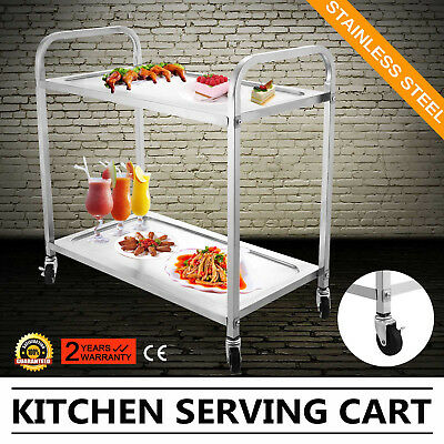 Stainless Steel 2 Tier Serving Trolley Utility Cart Catering Kitchen Drink Food