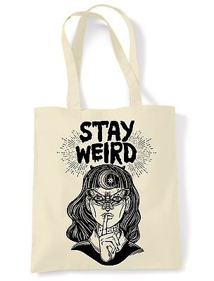 Stay Wierd Witch Girl Hipster Tote Shoulder Shopping Bag - Witches Festival