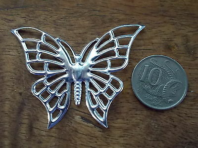 2 x butterfly embellishments or findings 61 x 47mm, silver tone colour