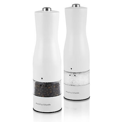 Morphy Richards 974234 Accents Electronic Salt And Pepper Mill White -Brand NEW