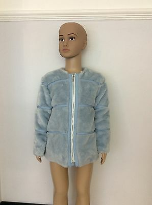 MAYORAL blue Fur Coat Jacket Age 5 Years / 110 Cm Girls Vgc