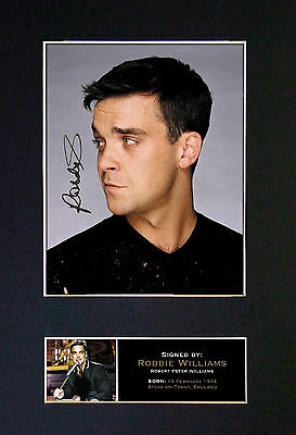 ROBBIE WILLIAMS Signed Mounted Autograph Photo Prints A4 71