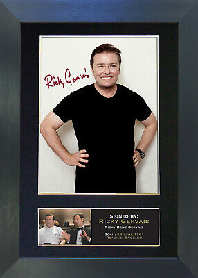 RICKY GERVAIS Signed Mounted Autograph Photo Prints A4 22