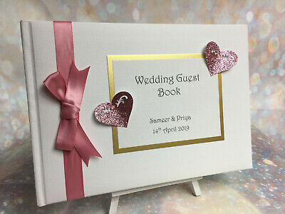Personalised Glitter Heart Wedding / Anniversary / Birthday Guest Book
