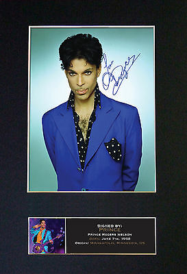 PRINCE Signed Mounted Autograph Photo Prints A4 376