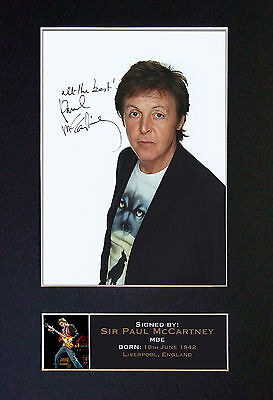 PAUL McCARTNEY Beatles Signed Mounted Autograph Photo Prints A4 169