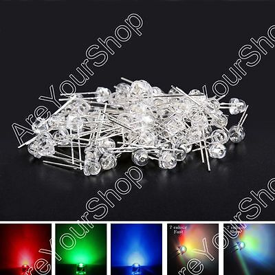 5/8mm LED 0.25/0.5W Straw Hat Red Blu Grn Whi Fast/S 6Color Waterclear Emitting.
