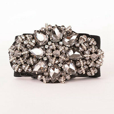 Fashion Women Elastic Waist Belt Crystal Buckle Stretch Waistband Strap Cinch