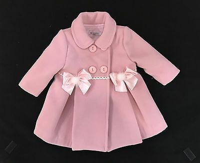 Beautiful Baby Girl's Pink Spanish Coat with Bow Fur Pom/Cozy and warm