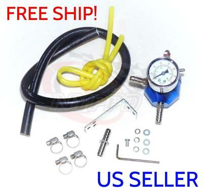 NYPPD Round Blue Adjustable Fuel Pressure Regulator 0 ? 140 PSI Gauge & Hose JDM