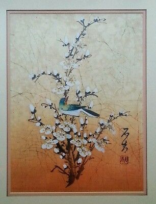 """Vintage Japanese painting on silk """"Bird on Blossoms""""  artist signed, 18×15 in"""